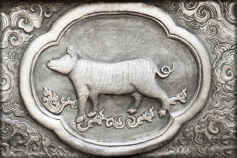 Grabado del valor de plata, símbolo del zodiaco imagen de archivo
