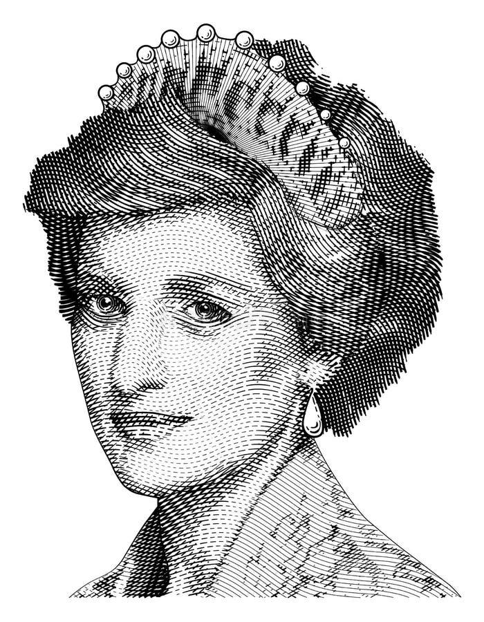 Grabado del vector de princesa Diana stock de ilustración
