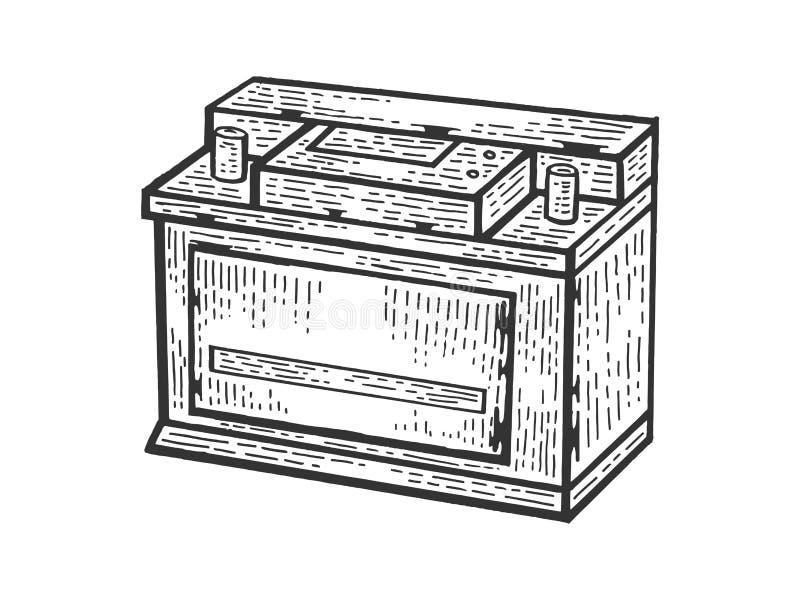 Grabado recargable del bosquejo de la batería de coche ilustración del vector