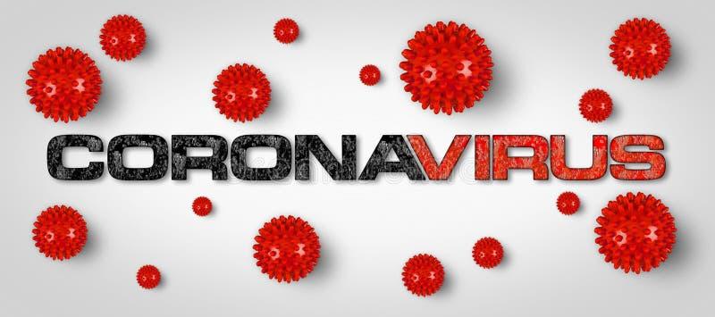 Grabado rojo Covid-19 con fondo gris claro del virus de la corona Pandémica de pandemia de brotes de cornavidad mundial stock de ilustración