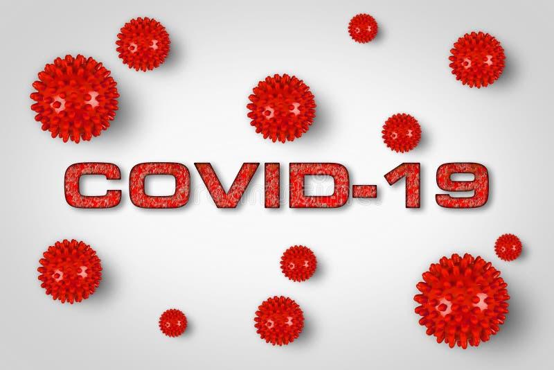 Grabado rojo Covid-19 con fondo gris claro del virus de la corona Pandémica de pandemia de brotes de cornavidad mundial fotografía de archivo libre de regalías