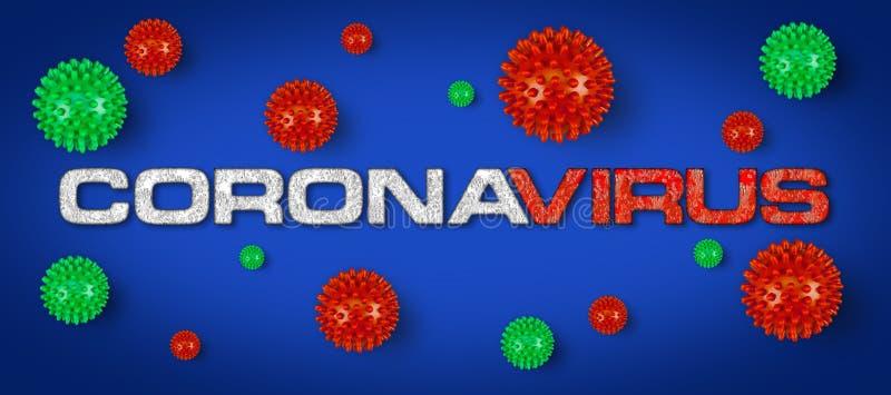 Grabado rojo Covid-19 con fondo gris claro del virus de la corona verde Epidemia de pandemia de brotes de cornavidad mundial stock de ilustración