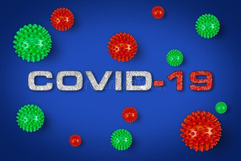 Grabado rojo Covid-19 con fondo gris claro del virus de la corona verde Epidemia de pandemia de brotes de cornavidad mundial fotografía de archivo