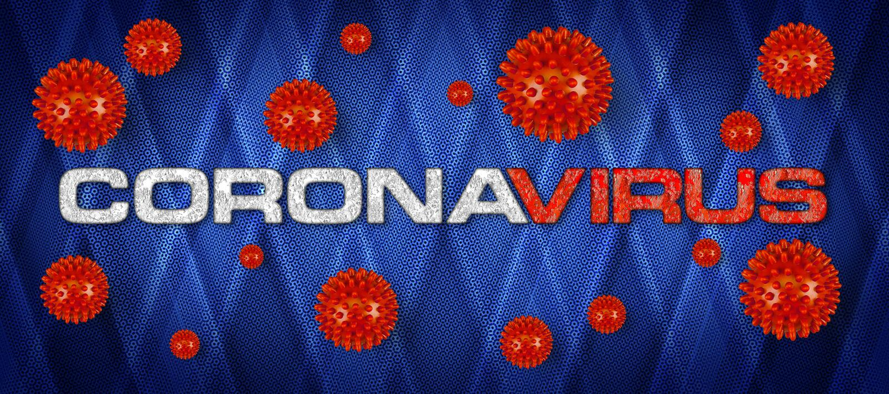 Grabado rojo Covid-19 con virus corona en fondo gris claro Epidemia de pandemia de brotes de cornavidad mundial libre illustration