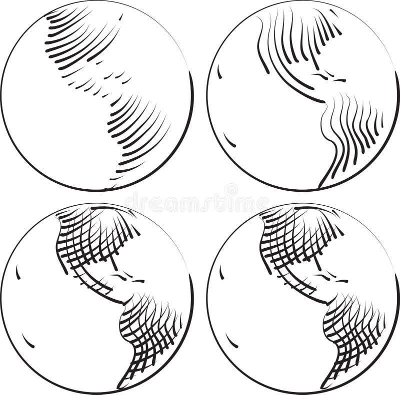 Grabado simple del mundo ilustración del vector