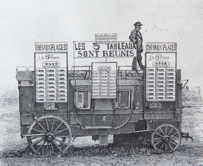 Grabado viejo en un coche que fue utilizado para apostar a partir de 1869 fotografía de archivo