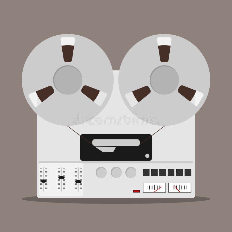 Grabadora de la bobina, insignia de la grabadora de la bobina stock de ilustración