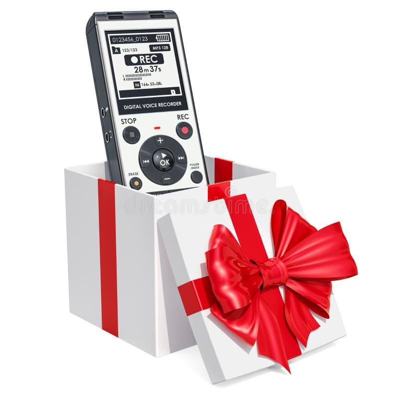 Grabadora de voz digital dentro de la caja de regalo, concepto del regalo renderi 3D stock de ilustración