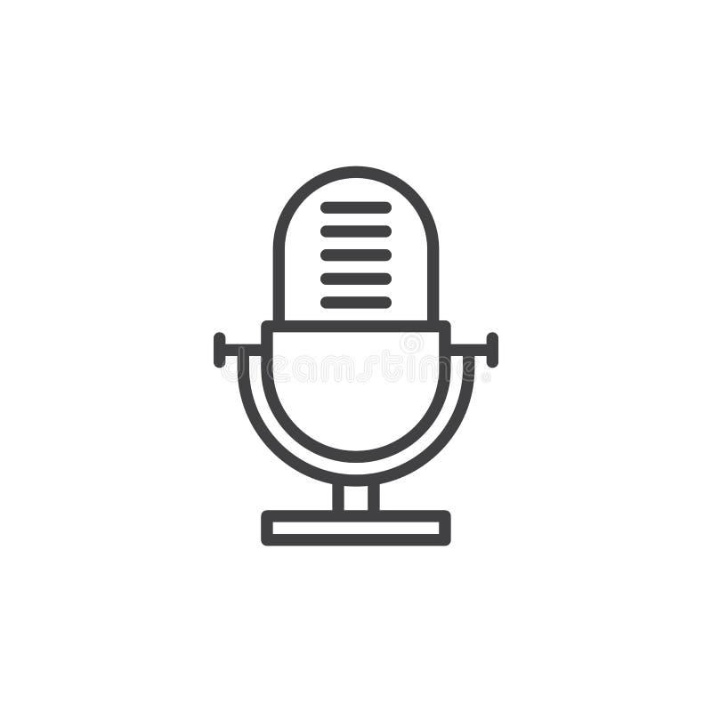 Grabadora de voz, vieja línea icono, muestra del vector del esquema, pictograma linear del micrófono del estilo aislado en blanco ilustración del vector