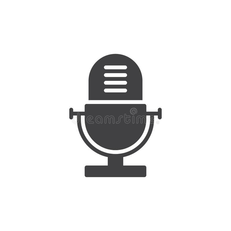 Grabadora de voz, viejo vector del icono del micrófono, muestra plana llenada, pictograma sólido aislado en blanco stock de ilustración