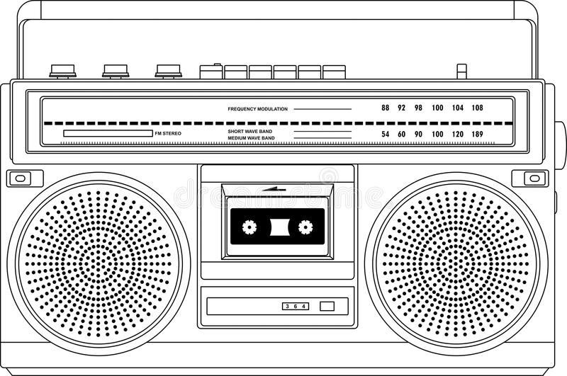 Grabadora del vintage, boombox del arenador del ghetto ilustración del vector