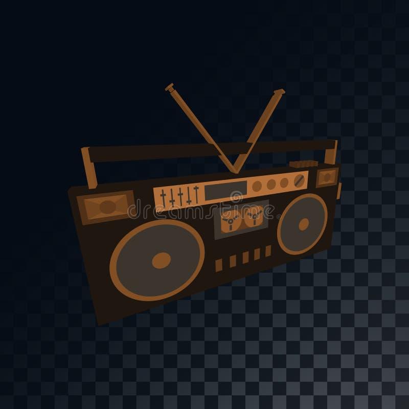 Grabadora retra vieja del casete de música del vintage, boombox a partir de los años 70, 80s, 90s en un fondo gris ajustado oscur libre illustration