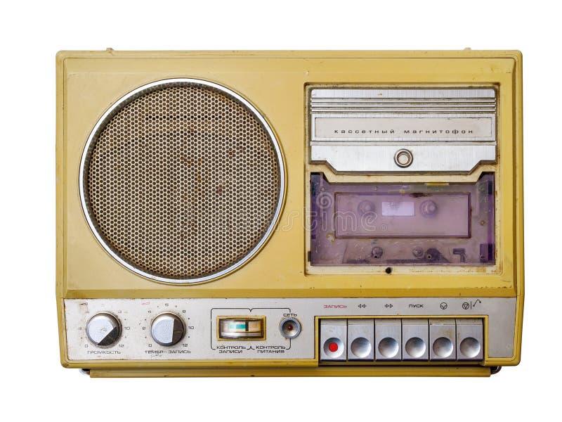 Grabadora vieja del casete aislada en el fondo blanco imagen de archivo