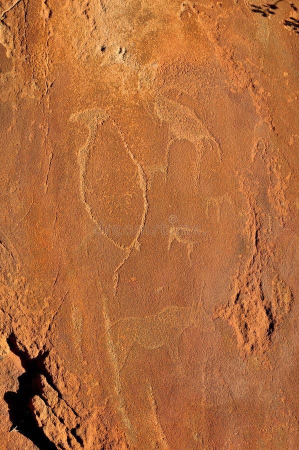 Grabados de la roca en Twyfelfontein, Namibia imagen de archivo