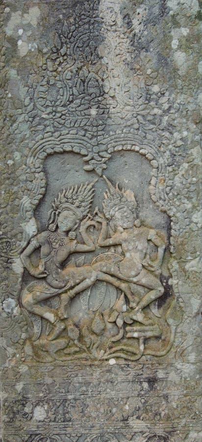 grabados en las paredes de los templos de Indochina foto de archivo