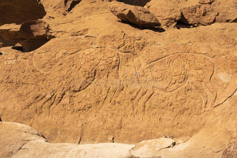 Grabados prehistóricos de la cueva cerca de San Pedro De Atacama, Chile imagen de archivo libre de regalías