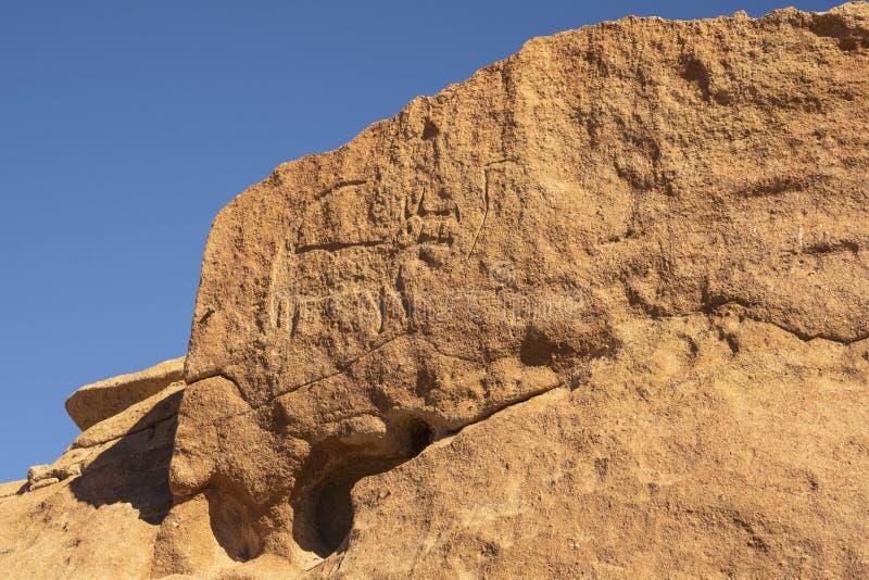 Grabados prehistóricos de la cueva cerca de San Pedro De Atacama, Chile imagenes de archivo