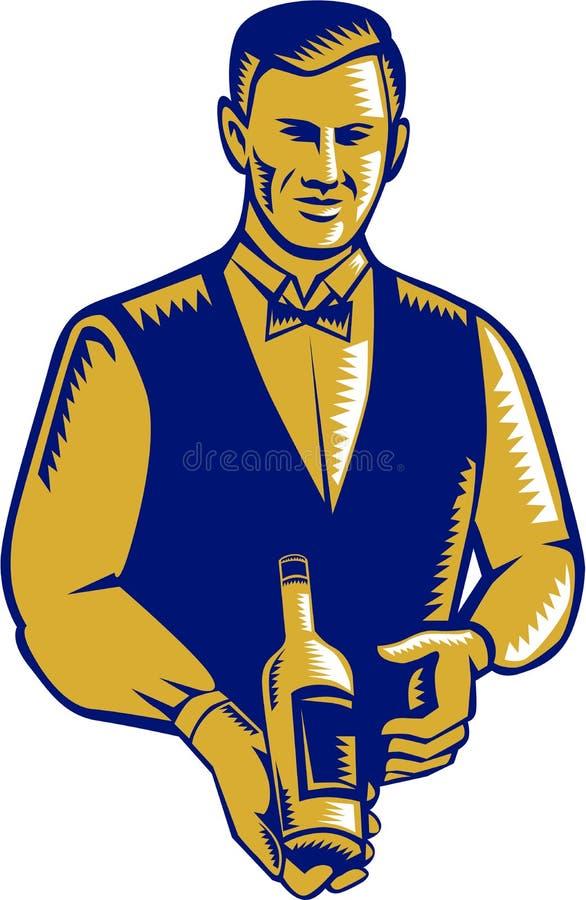 Grabar en madera de Presenting Wine Bottle del camarero ilustración del vector