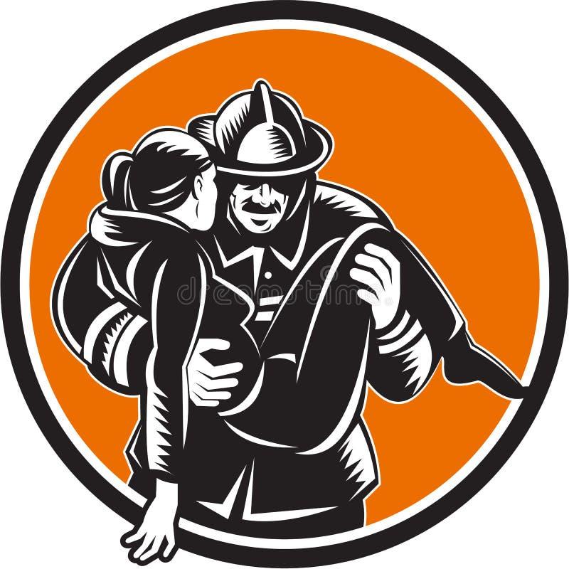 Grabar en madera de Saving Girl Circle del bombero del bombero ilustración del vector