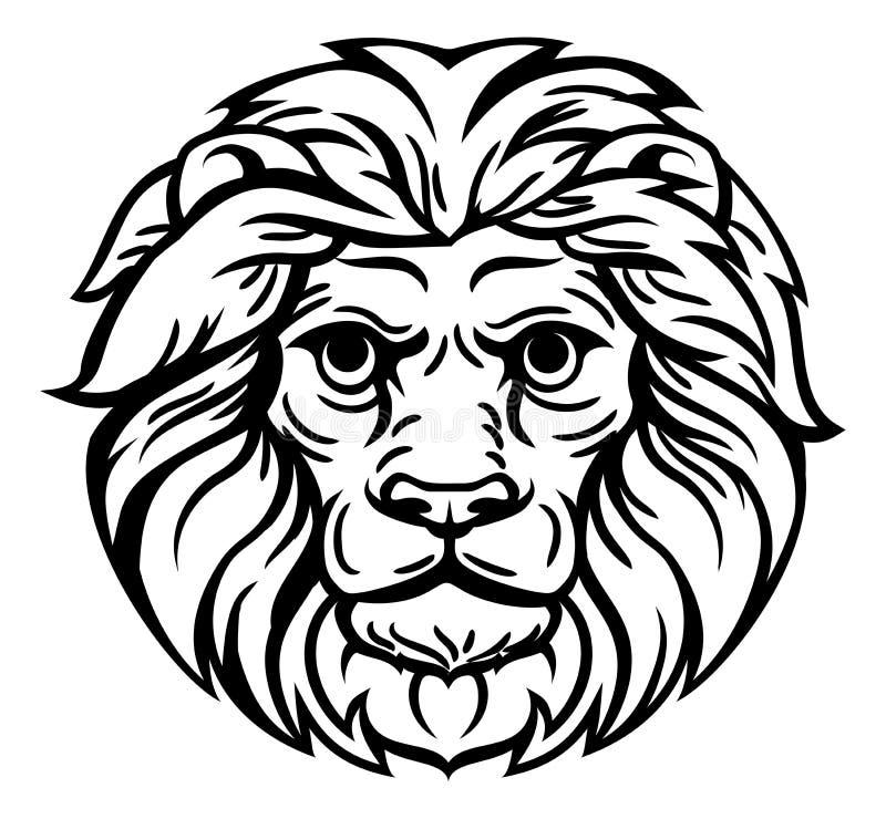 Grabar en madera Lion Head Concept ilustración del vector