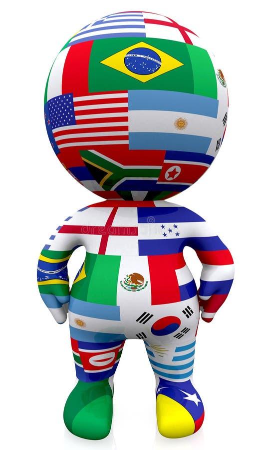grabb 3D med världsflaggorna över vit vektor illustrationer