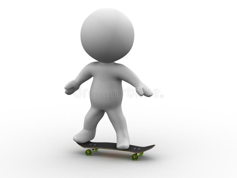 man som 3D rider en SkateBoard royaltyfri illustrationer