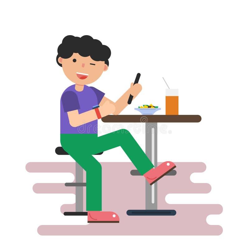 Grabb i kafé med mobiltelefonen stock illustrationer