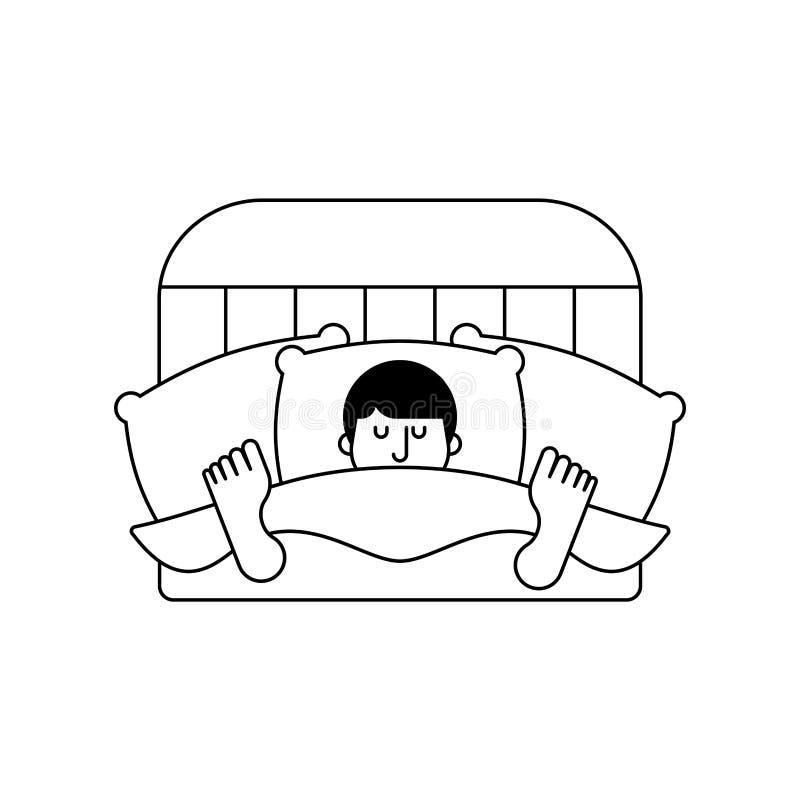Grabb i säng som isoleras sovande sova för man längsgående stödbjälkeman Vektor mig vektor illustrationer