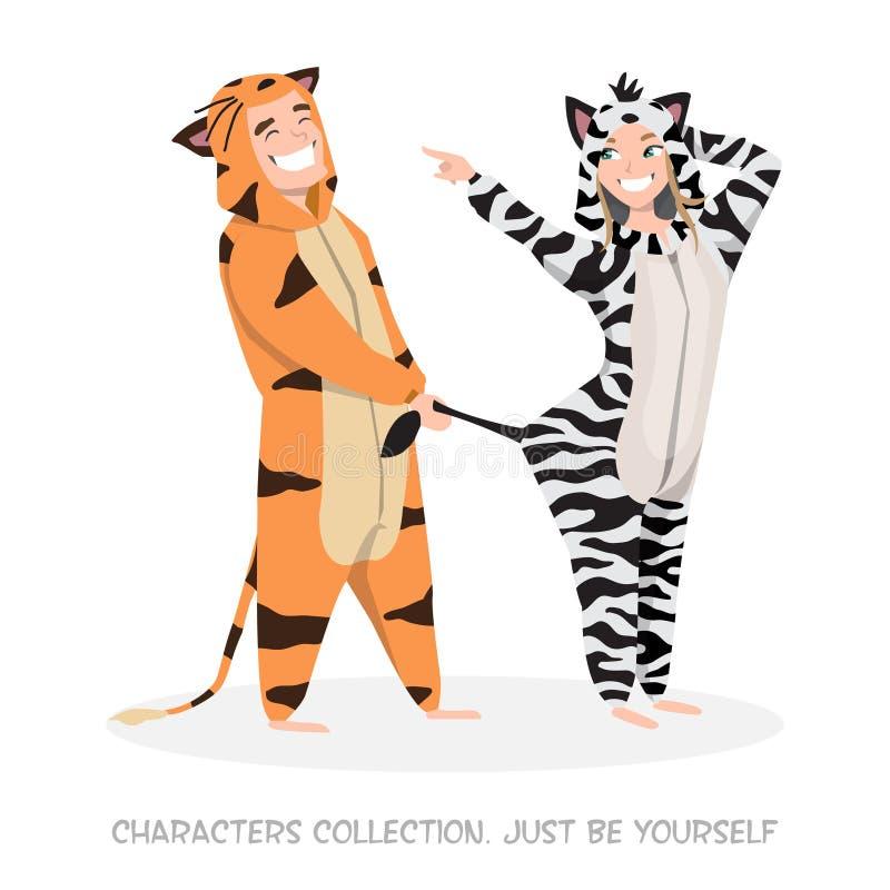 Grabb med rolig hemmastadd pyjamas för flicka royaltyfri illustrationer