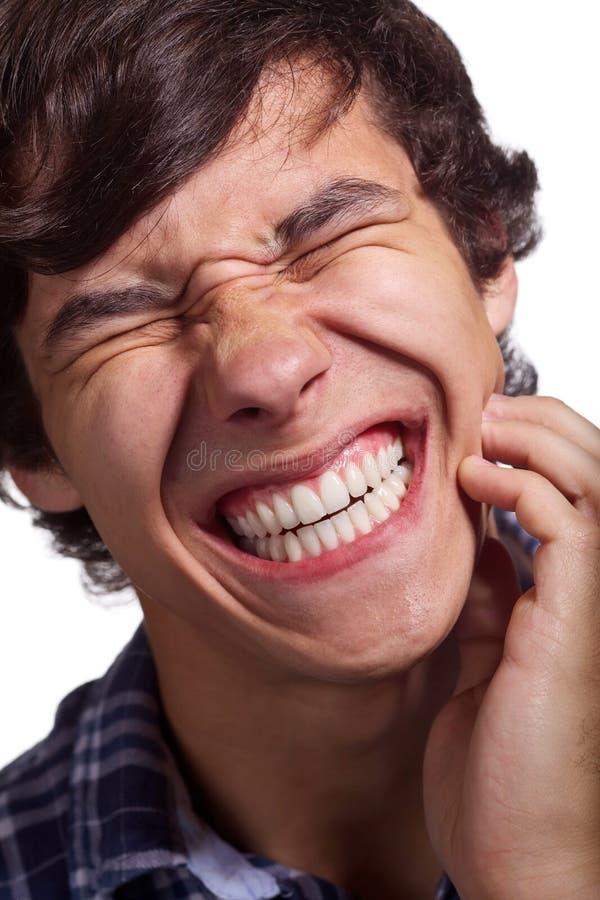 Grabb med stark tandvärk royaltyfri foto