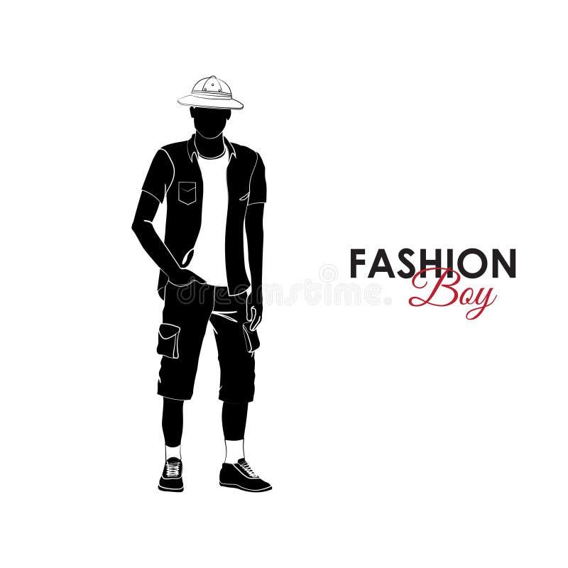 grabb Mode Kontur av en grabb En grabb i en T-tröja, en skjorta, ett korklock och kortslutningar med fack royaltyfri illustrationer