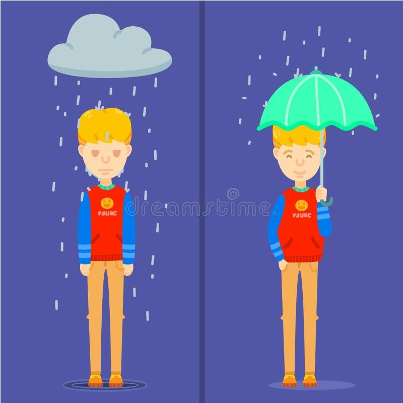 Grabb på regnig dag, lyckligt grabbinnehavparaply på den regniga dagen, olycklig grabbställning i regnet, känsla två av grabbteck royaltyfri illustrationer