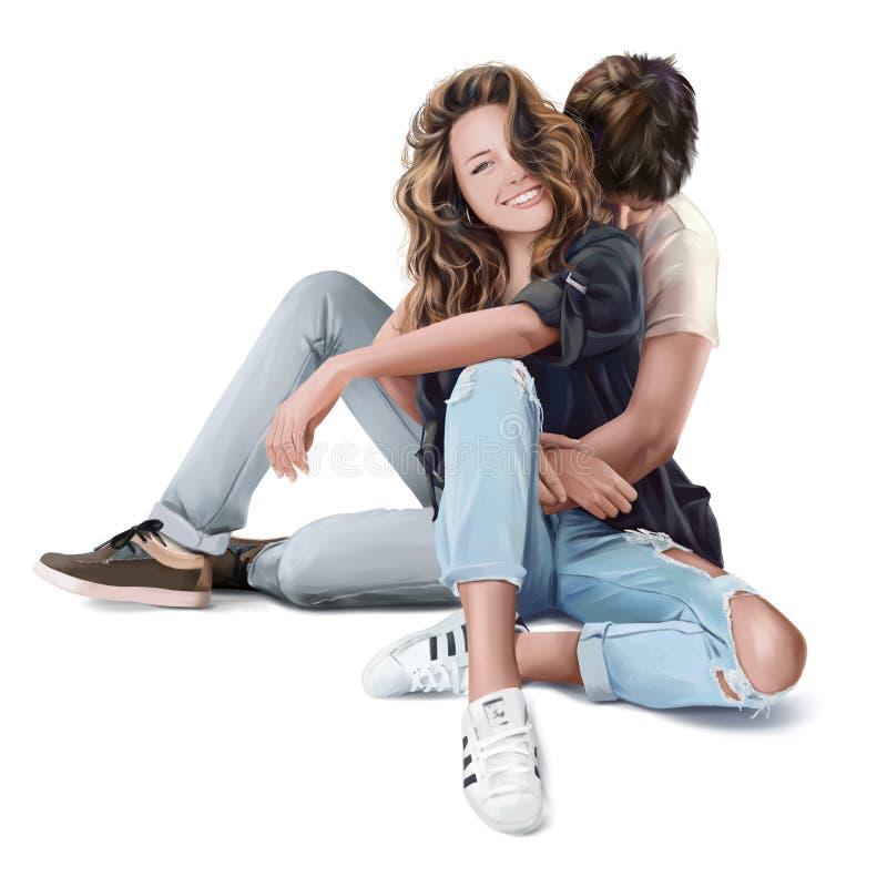 Grabben kramar flickan för Adobekorrigeringar hög för målning för photoshop för kvalitet för bildläsning vattenfärg mycket stock illustrationer