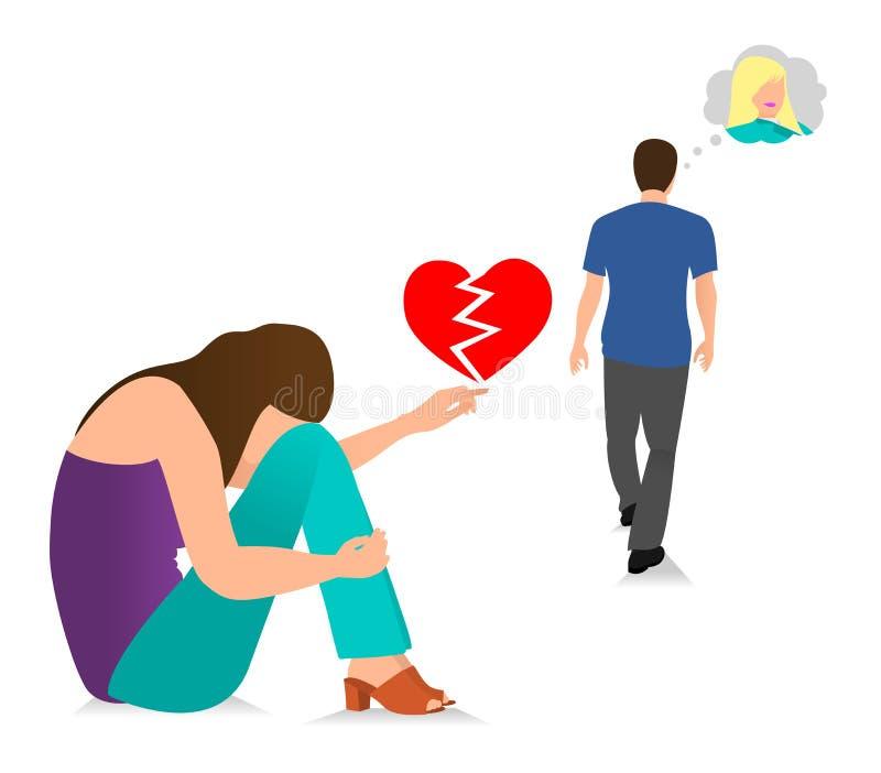 Grabben l?mnar unga flickan Vektorillustrationbegrepp av det dåliga förhållandet, missad förbindelse, bruten hjärta och att fuska stock illustrationer