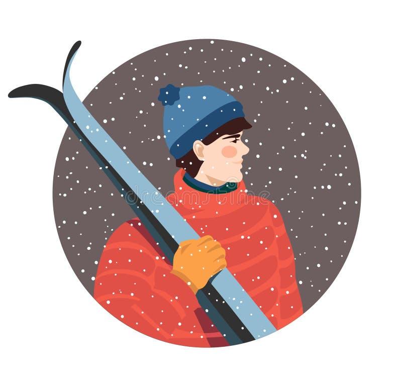 Grabben med skidar royaltyfri illustrationer