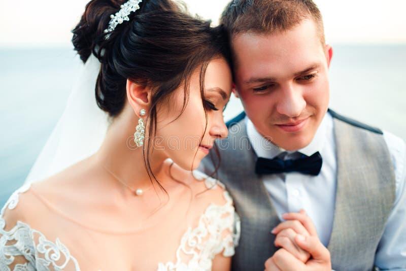 Grabben och flickan ler p? de Klassiska unga brölloppar royaltyfria bilder