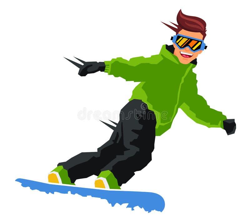 Grabbritter på en snowboard royaltyfri illustrationer