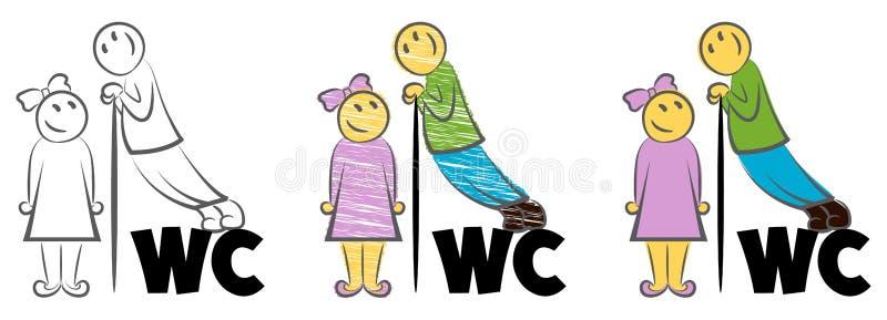 Grabbspionerna på flickan Mannen ser kvinnan till och med väggen Ställningar på bokstäverna Emblem f?r toalettillustration WC vektor illustrationer