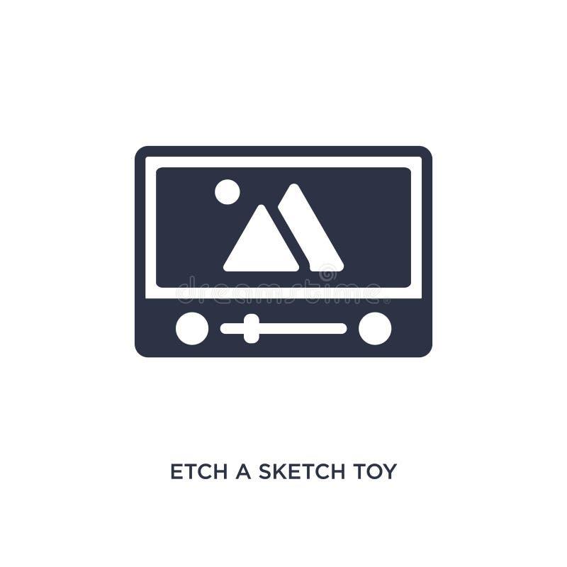 grabe al agua fuerte un icono del juguete del bosquejo en el fondo blanco Ejemplo simple del elemento del concepto de los juguete ilustración del vector