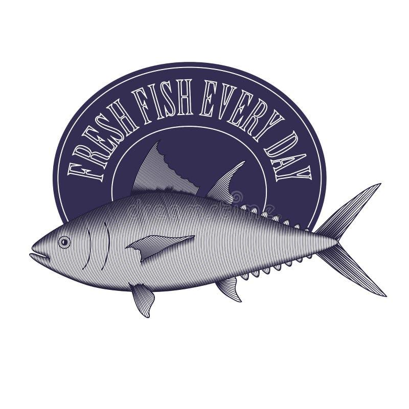 Grabe el logotipo del vintage del estilo - los pescados y marco de atún stock de ilustración