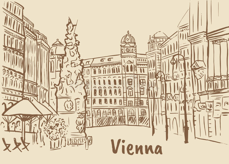 Graben街道在维也纳 库存例证