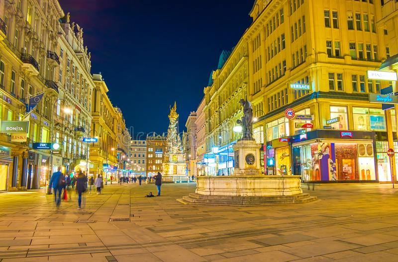 Graben at night, Vienna, Austria stock image
