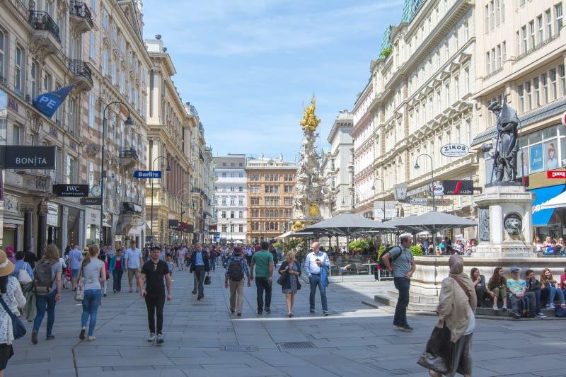 Graben ulica i dżumy kolumna w centrum Wiedeń, Austria fotografia royalty free