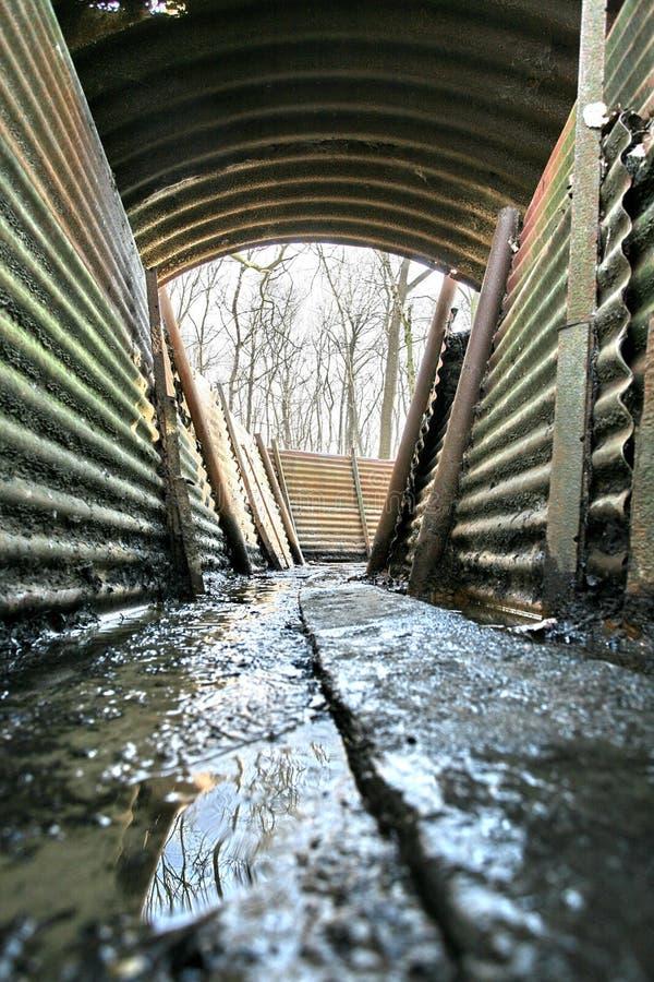 Graben WW1 am Schongebiet-Holz lizenzfreies stockfoto