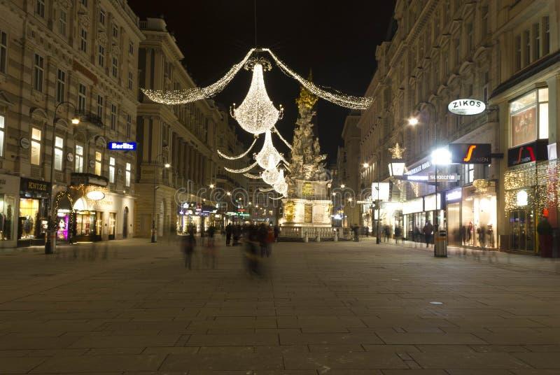 Grabenstraat in Wenen bij nacht, lang blootstellingsschot royalty-vrije stock afbeeldingen