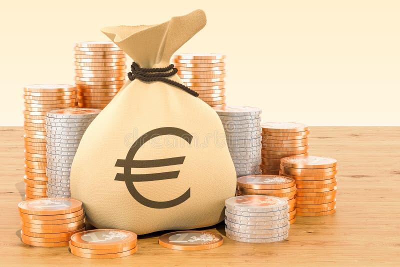 Grabije z euro symbolu wokoło i euro monetami na drewnianym stole royalty ilustracja
