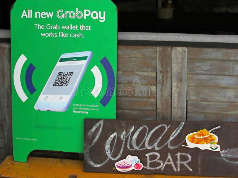 GrabPay Advertising Board. GrabPay advertising signboard at Ipoh oldtown stock photo