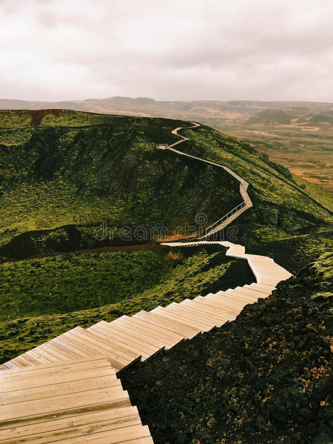 Grabrok火山口,冰岛 免版税库存图片