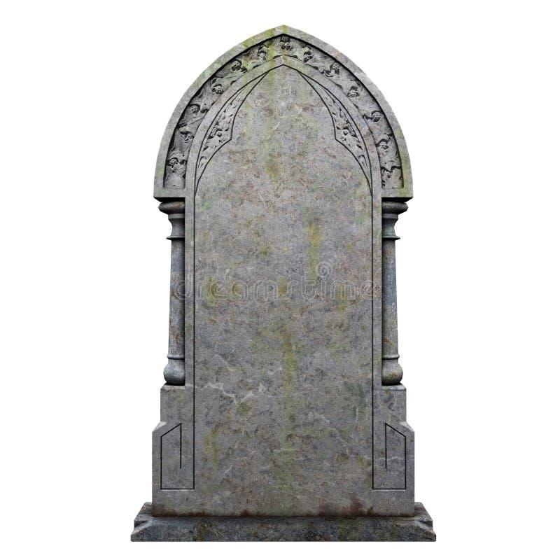 Grabstein auf dem weißen Hintergrund stock abbildung