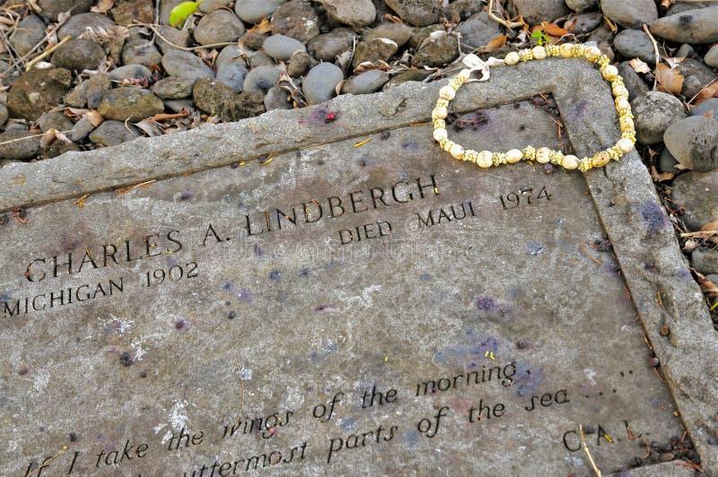 Grabstein von Charles Lindbergh, Kipahulu, Maui stockfoto
